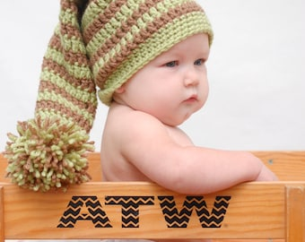 Instant Download Crochet Pattern for Making a Crochet Striped Elf Hat for Infant and Toddlers Photo Prop PDF