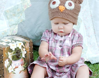 Crochet Pattern for Making a Little Owl Hat for Infant and Toddlers and Babies Photo Prop PDF