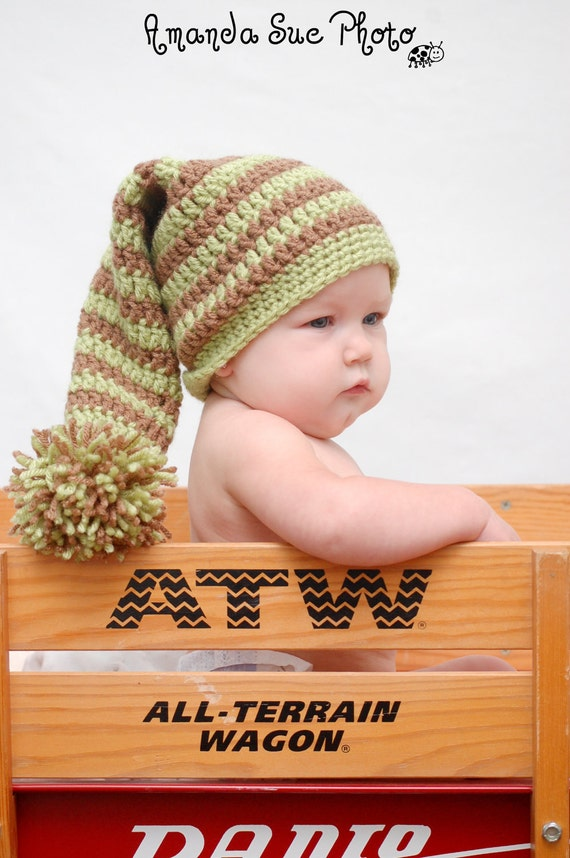 Crochet Pattern Directions for Making a Crochet Striped Elf Hat for Infant and Toddlers Photo Prop Elf Instant Download PDF