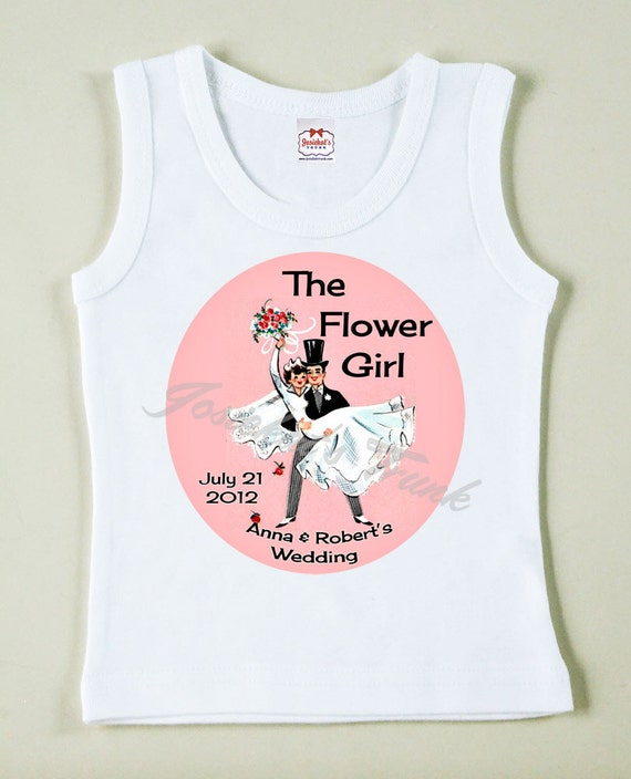 Flower Girl Tee Gift Retro Vintage Custom Size Wedding