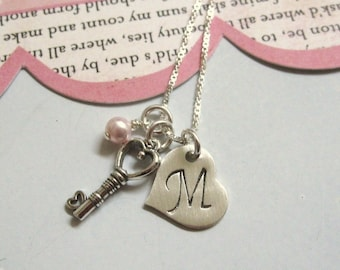 Personalized Jewelry ..The Key ........ Girls Hand Stamped Personalized Initial Necklace .. Hand Stamped Jewelry