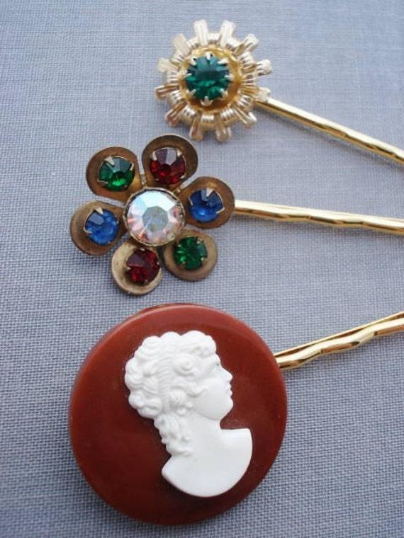 Repurposed Vintage Hair Pins, Set of 3