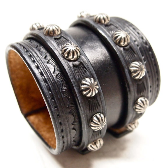 Leather Wrist Cuff Black Traditional American Cowboy ROCKSTAR Bracelet- made for YOU in NYC by Freddie Matara
