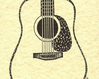 Vintage Dreadnought Acoustic Guitar Fine Art Print, Pen n ink Illustration, On Beautiful Parchment Paper, Can Be Personalized, Music, Gift