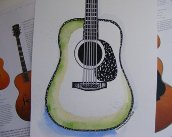 Guitar Watercolor, Guitar Painting, Original Painting, Original Guitar Art, Acoustic Guitar, Guy Gift, Man Cave, Music Room, Green Guitar