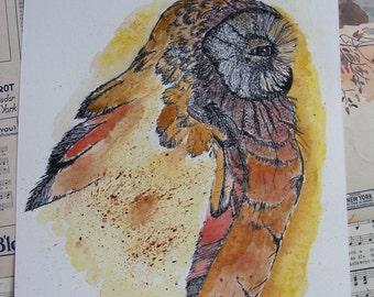 Original Handpainted Watercolor Painting, Wildlife Owl Illustration, Original Wall Art, Home Decor, Bird, Nature, Animals, Pen & Ink, Signed