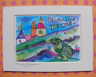 Fine Artist Watercolor Fantasy Print of Dragon and Princess, Castle, Childrens Illustration, Matted, Watercolor Painting, Colorful, Child