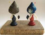 Folk Art Miniature Make-Do Pincushion / Dark Colonial Blue Base - Early American / Primitive Decor