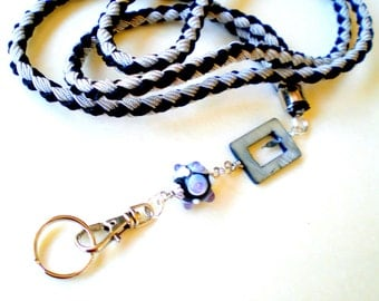 Hand Braided and Beaded id Badge Lanyard - Silver and Black