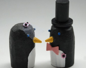 Penguin Wedding Cake Toppers | Gay Lesbian Wedding Cake Toppers | Custom Wedding Cake Toppers | Penguin Bride and Groom