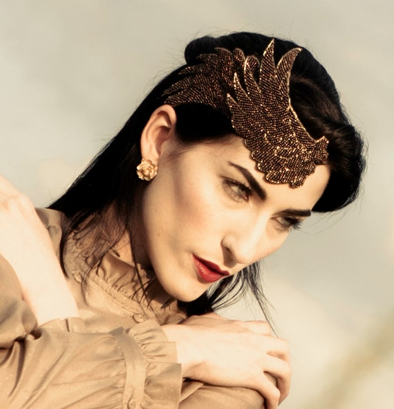 The Isis - Winged Headband - Bronze Beaded Wings - Fascinator - Steampunk - READY TO SHIP