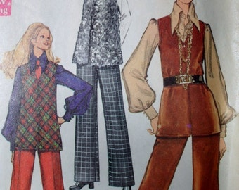 Simplicity 8557 Pattern - 1960's Mod Style Long Vest and Pants