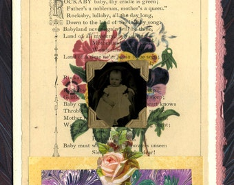 Victorian Lullaby Baby Tintype Collage Greeting Card