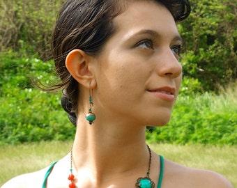 Aqua Green Fire Agate and Copper Bell Flower Earrings