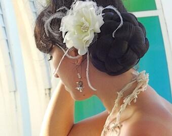 Ivory Blush Silk Flower with Feathers and Ornate Swarovski Rhinestone Center Bridal Hair Clip Fascinator