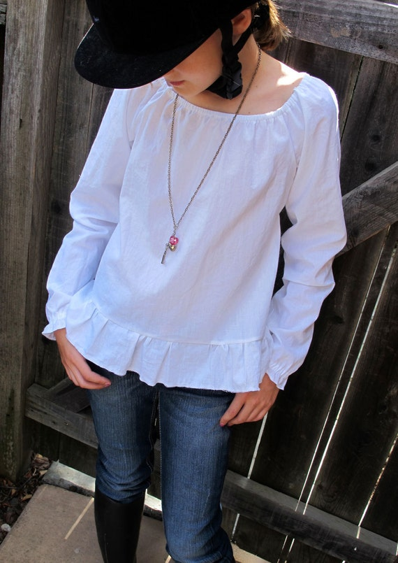 Girls Peasant Blouse Pattern - Long sleeved or short - 2 to 10 years - PDF