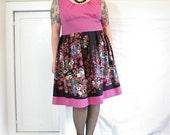 PrettyFuchsia Dress - plus size - vintage fabrics - 52B-46W-65H