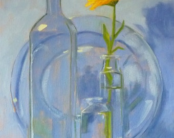 Still Life Oil Painting, Glass and Flower, Original Kitchen Art, Wall Decor, 11x14 Canvas, Blue and Yellow, Bottles, Reflections