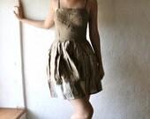 Linen dress, Party dress, Fairy dress, Boho dress, Alternative wedding dress, Hippie dress, Mini dress, Sundress, Brown dress, Larp, Petites