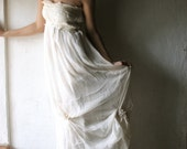 Wedding dress in Ivory white Silk Chiffon long, strapless or halter hippie boho beach weddings - larimeloom