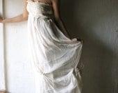 Wedding dress, Bridal gown, Hippie Wedding gown, Bridal dress, Long wedding dress, Chiffon dress, Strapless gown, silk wedding dress, White