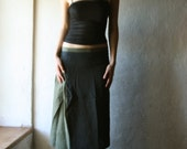 Linen skirt in black and Green - kneel length aline pleated skirt