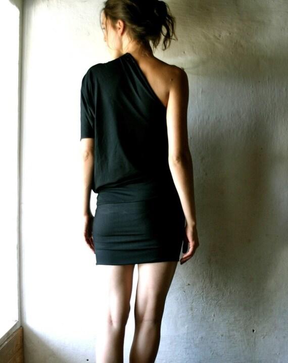 Black one shoulder dress, One sleeve dress, T-shirt dress, Tunic dress, jersey dress, Sexy dress, Little black dress, custom dress