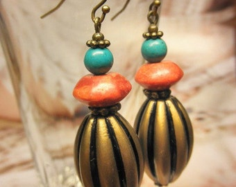 BRASS OLIVES -- Coral Turquoise Gem Brass Beads Earrings
