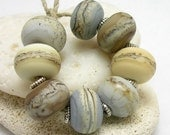 Organic Handmade Lampwork Glass Bead -  Sand and Fog chunky round beads