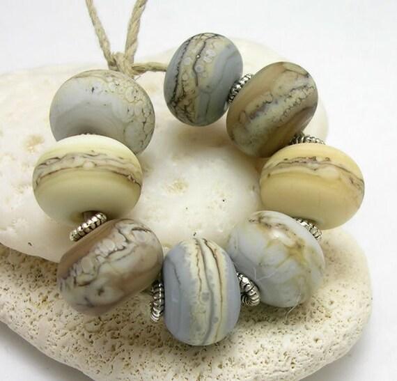 Organic Handmade Lampwork Glass Bead -  Sand and Fog chunky round beads