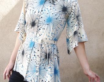 Time Zone - iheartfink Handmade Hand Printed Womens Starburst Wearable Art Print Kimono Jersey Top