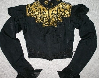 Antique Victorian Ladies Mourning Bodice Silk Black Ornate Beads