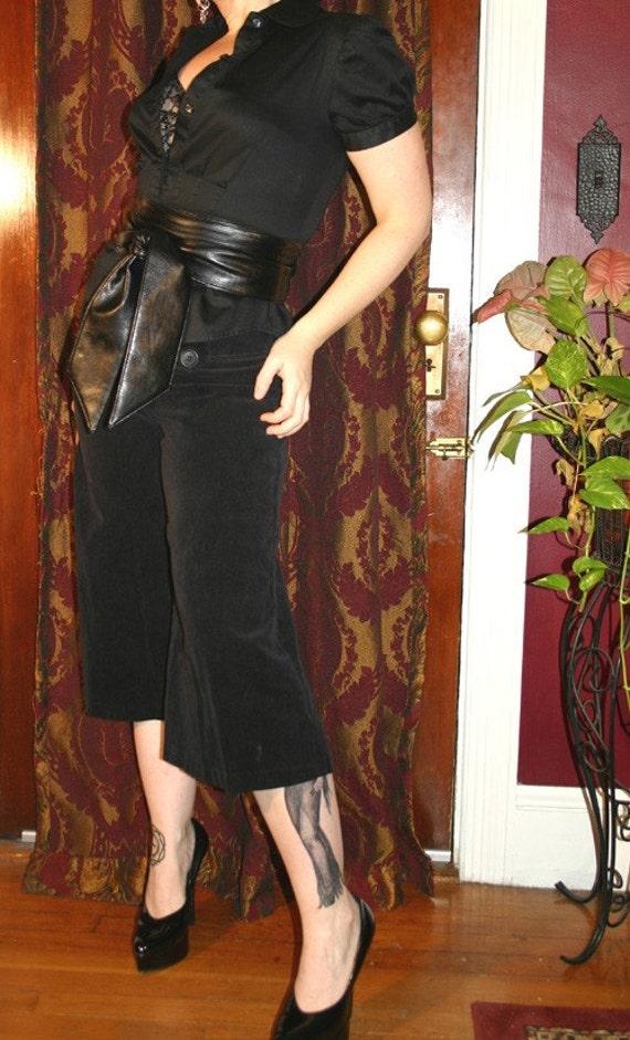 Vintage Black Velvet Gaucho Knickers Palazzo Pants S