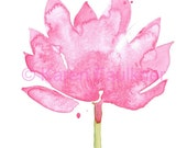 "Watercolor flower art print: ""Pink Lotus"""