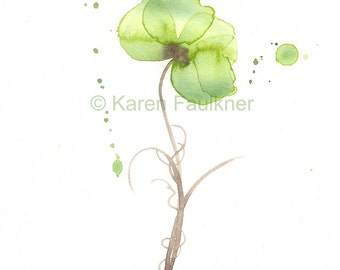 """Watercolor Flower Print of olive green flower: """"Olive Orchid"""""""