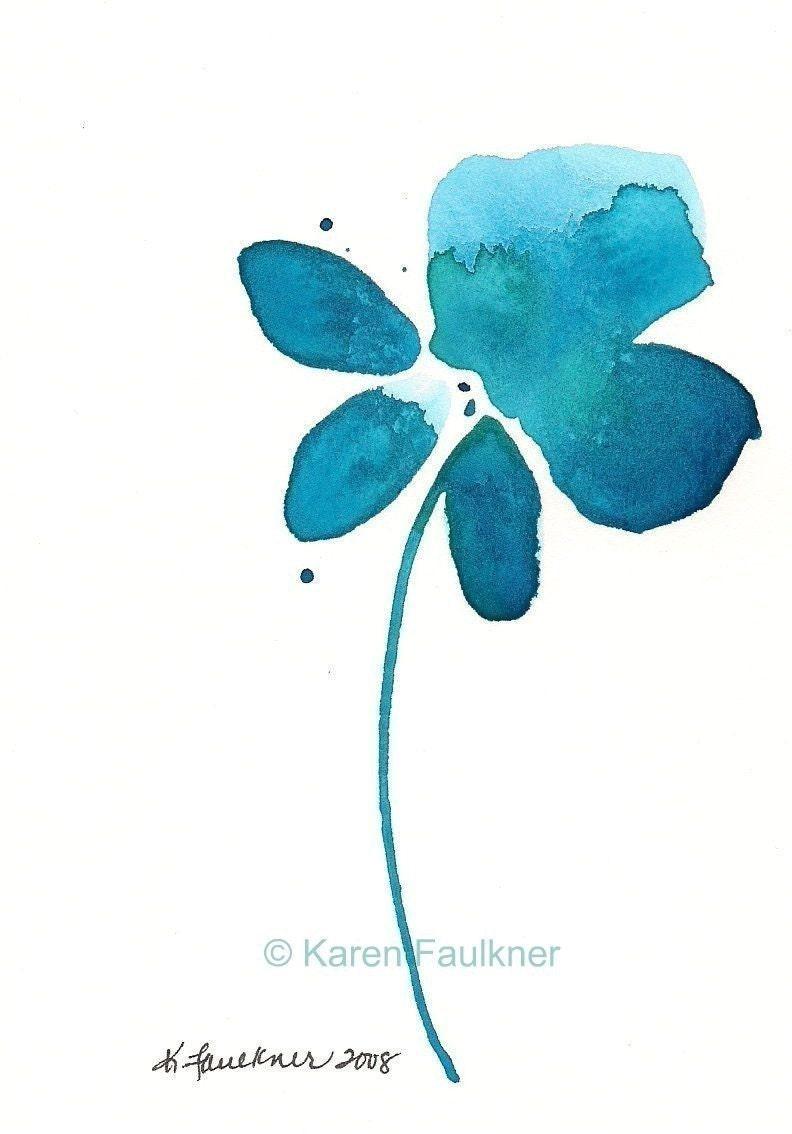 Watercolor Flower Art Print Splashy Teal Flower Teal