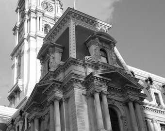 Architecture Black and White City Hall Photograph Philadelphia William Penn Downtown Landmark