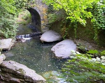 Historic Bridge Photograph Waterfall in Woodland Stone Arch River Creek Leaves and Rocks Philadelphia Wissahickon Rittenhousetown