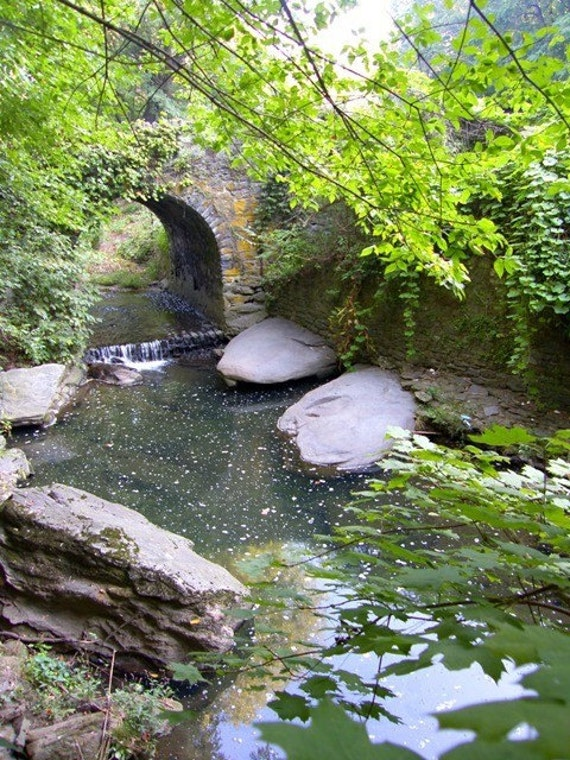 Historic Bridge Photograph Waterfall in Woodland Stone Arch River Creek Leaves and Rocks Philadelphia Wissahickon Rittenhousetown