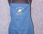 "Apron Martini Lover 30"" Navy Blue Embroidered Apron with Olive"