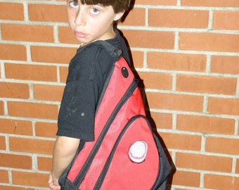 Back Pack BASEBALL Embroidered on a RED Sling Pack One Shoulder harness