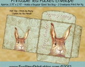 Instant Download - Digital Tea Bag Envelope - Easter Rabbit - Printable PDF and/or JPG File