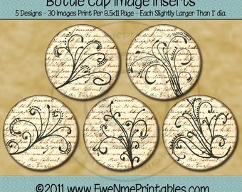 Sepia Swirls and Flourishes Printable Bottle Cap Images - 1 inch Round images - Digital PDF and/or JPG File - 4x6 jpg file also included