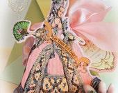 Marie Antoinette Custom Invitations Large Die Cut Design with Shimmering Pink Envelopes Set of 6