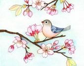 Print wall art, Art giclee print, Cherry Blossoms