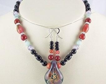 Elegant Floral Lampwork Pendant with Onyx,Jade,Quartz,C.Z. Necklace Set