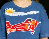 Plane pilot, aviator, airplane party shirt, boys top, organic cotton shirt hand dyed blue Boys Clothing Eco Kids , personalized t shirt