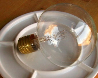 Vintage Industrial Large Glass Light Bulb Steampunk Orb '7 Inches High'