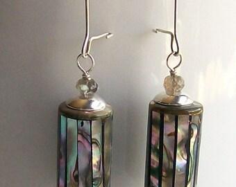 Earrings Abalone Shell & Labradorite Bead Dangles Oceanside Beach Jewelry