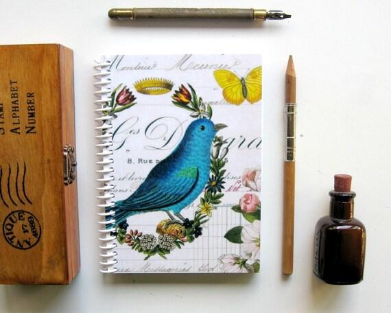 Blue Bird A6 Pocket Paper Spiral Cute Garden Notebook, Blank Sketchbook, Writing Spiral Bound Journal, Diary Journal, Gifts Under 15, Ciaffi